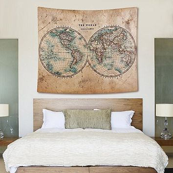 Vintage World Map Boho Fabric Wall Tapestry