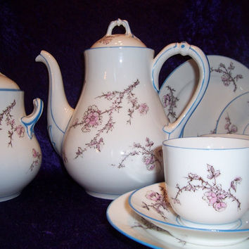 Vintage China, Porcelain, Coffee, Tea, Serving Set, Four With Dessert Plates, Tea Cups, Saucers,  Large Creamer Or Sugar, Pink, Blue, Floral