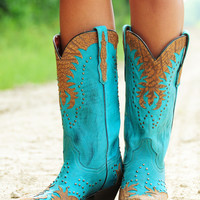 Dirt Road Darlin' Boots: Turquoise/Tan