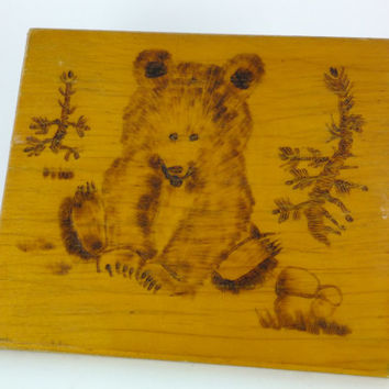 Little Bear Wood Burning Bear Painting Russian Soviet Wooden Pyrography Pyrogravure Bear Painting Woodburn Wall Hanging Folk Art