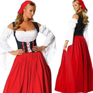 New Arrival PLUS Size LONG Red Women Waiter Oktoberfest Beer Maid Peasant Dress Costume German Girls Costume Wench M-XL