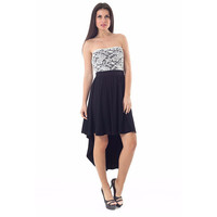 Strapless Lace Detail High Low Dress LAVELIQ