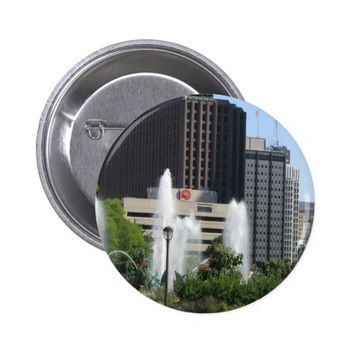 View of the City Of Philadelphia with Fountain Button