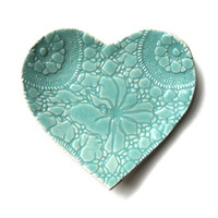 Seafoam heart plate in turquoise blue stoneware ceramic pottery Lace crochet imprint Home decor Soap dish Catch all Ring saver Dessert plate