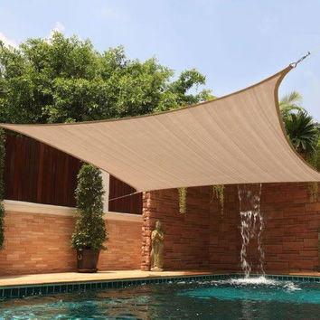 New Premium Clevr Sun Shade Canopy Sail 20'X16' Rectangle UV Outdoor Patio Sand