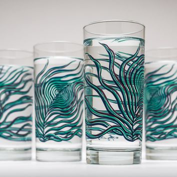 Peacock Feather Glasses Shades of Blue Drinkware Set Tropical Coastal Beach Kitchenware