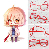 Kyoukai no Kanata Kuriyama Mirai Red Round Glasses Cosplay Accessories