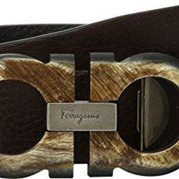 Salvatore Ferragamo  Men's Double Adjustable Belt - 679914 Hickory/Nero 34