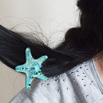 Starfish Hair Clip, Starfish Hair Accessories, Blue Starfish Hair, Beach Hair, Mermaid Hair, Beach Weddings, Starfish Hair Accessories