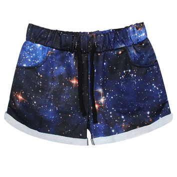 Casual Blue Starry Sky Printed Low-waist Shorts For Women