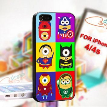 Despicable Minion Super Hero-Photo On Hard Cover For iPhone 4,4S
