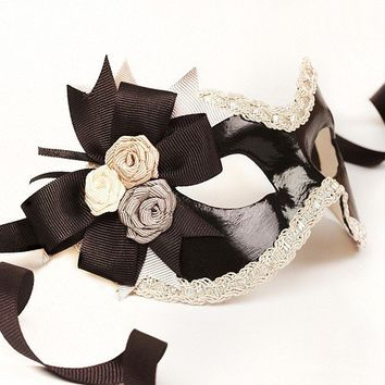 Verona Black/Silver masquerade mask /req37430 by partymask on Etsy