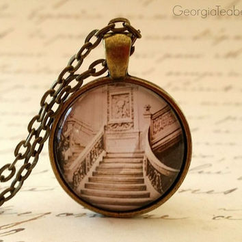 Titanic glass dome necklace, Steampunk, round glass, gift ideas, hostess gift, party favors, key ring, Stairway Spooky Vintage Photo Stairs