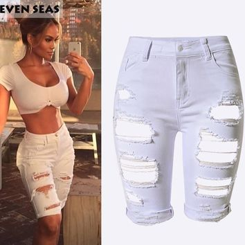 2016 Fashion Plus size Knee Length Shorts Women Vintage Denim Short jeans Ripped High Waisted Shorts femme 4 Color