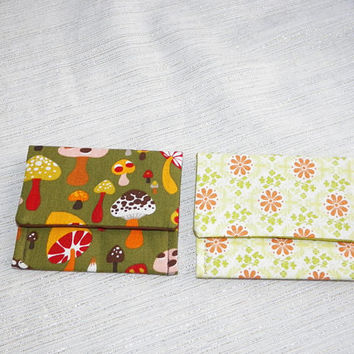 Mushrooms and Daisies Teeny Pocket Set of Two