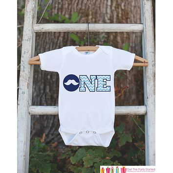 Mustache Bodysuit for First Birthday Party- ONE Shirt For Boy's 1st Birthday Party - Little Man Mustache Bash Onepiece Birthday Outfit