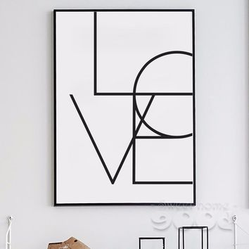 Simple Love Quote Canvas Art Print Poster, No Frame