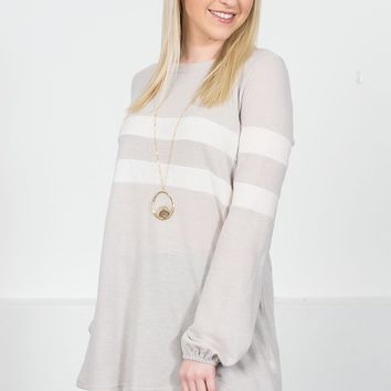 Bleached Almond Striped Top