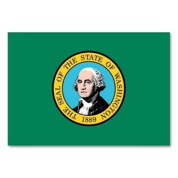 Patriotic table card with Flag of Washington State