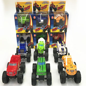 6pcs set Cool Blaze Monster Machines Russia blaze Sliding Vehicle Cars Transformation Toys BEST Christmas Gifts For Kids