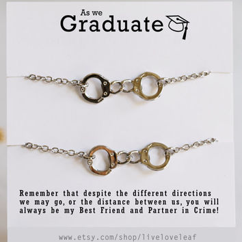 Set of 2 Silver Handcuffs Bracelets Partners in Crime Best Friends Graduation Gift Ideas for her BFFs Bff jewelry gifts Personalized Unique
