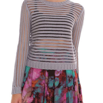 Spread Love Open Knitted Top - Gray