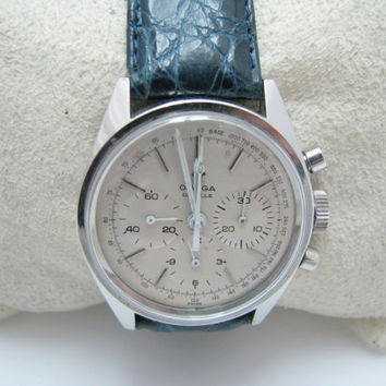 Vintage 1969 Omega Deville Watch with Blue Leather Band & Omega Buckle