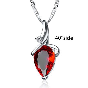 QCOOLJLY 1pc 3Colors Love Alluring Water-drop Shape Purple Red CZ Wedding Silver Color Necklace For Women Ladies Hot Selling