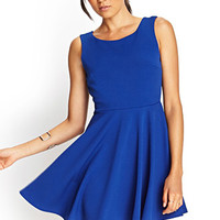 FOREVER 21 Scoop Back Skater Dress Royal