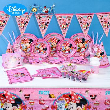Disney Minnie Kids Birthday Party Decoration Set Party Supplies Baby Birthday Party Pack Event Party Supplies
