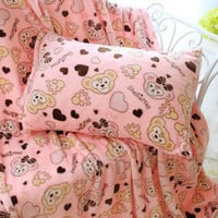 Cartoon Bear Flannel Blanket Bedding from HIMI'Store