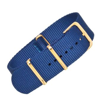 22mm Blue Nylon NATO - Gold Buckle