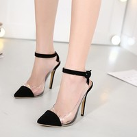 Pointed Toe Ankle Wrap Transparent Stiletto Heels Prom Shoes