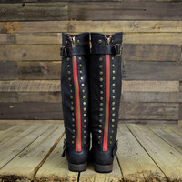 Wake Forest Black Red Zipper Knee High Boots