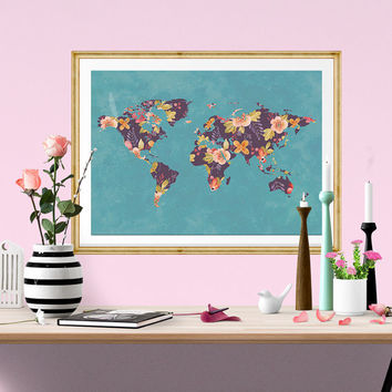 Best downloadable world map products on wanelo floral world map watercolor print flower instant download watercolor poster digital poster gumiabroncs Images