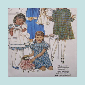 Uncut Vintage Pattern Simplicity 5154 Girl's Cinderella Dress Pinafore Jumper Size 4