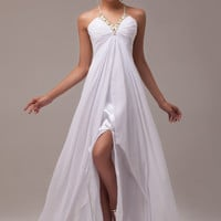 White V-Neck Beads Ruffles Slit Front Lace Mesh Back Chiffon Maxi Dress