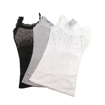 Spring Summer Sexy Sleeveless Lace Tank Top Women Rhinestone Sequin Top Girls Summer Tops Camisole