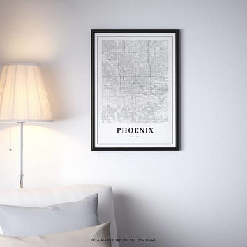 Phoenix Map Print, Arizona AZ USA Map Art Poster, City Street Road Map Print, Nursery Room Wall Office Decor, Printable Map