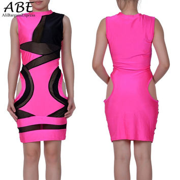 Women Dress 2016 Hot Selling Women Patchwork Sleeveless Bandage Dress High Waisted Slim One Piece Bodycon Dress #3