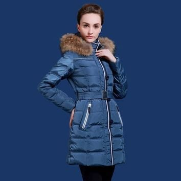 Russian and European winter women jacket thick long coat silver fox fur collar to adapt to minus 20 degrees plus size 48-62 Q504