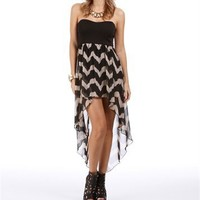Black/Taupe Zig Zag Hi Low Dress