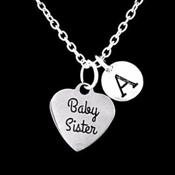 Choose Initial, Baby Sister Gift For Little Sister Charm Necklace