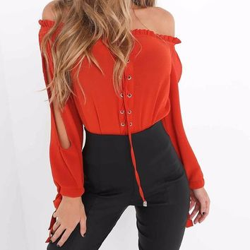 Blake Marie Open-Sleeve Blouse