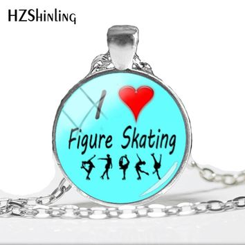 2018 NEW I Love Figure Skating Pendant  Skating Necklace Round Class Cabochon Jewelry Art Printed Photo Pendants HZ1