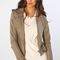 The Chriss Dry Crinkle PU Jacket in Walnut Brown