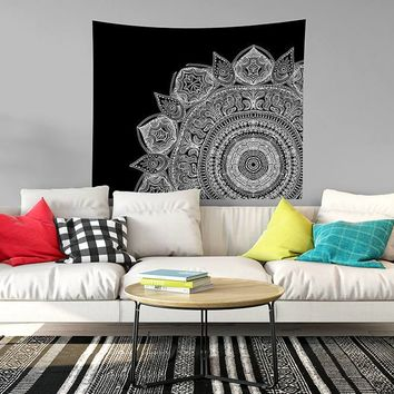 Reiki Charged Black And White Mandala Very Popular Meditation Mandala Bohemian Boho Design Dorm Room Art Yoga Studio Art