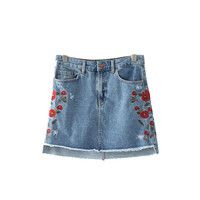 Floral embroidery denim skirts