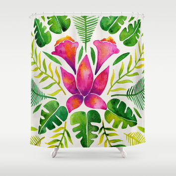 Tropical Symmetry – Pink & Green Shower Curtain by Cat Coquillette