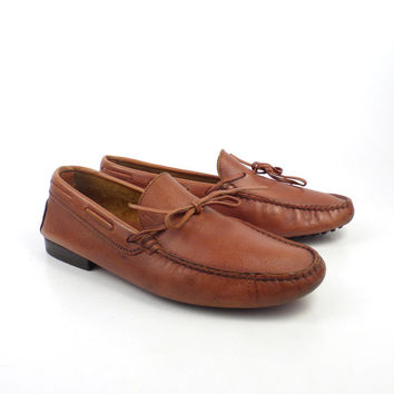 Tods Driving Loafers Vintage 1980s Tods Tan Brown Leather Moccasins Loafers Shoes Men's size 6 1/2